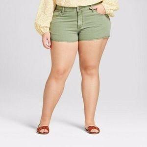 Universal Thread Cutoff Denim Shorts - Olive Green